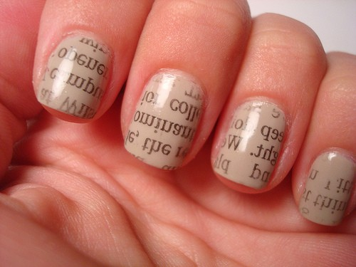 Newspaper nail art tutorial alldaychic prinsesfo Images