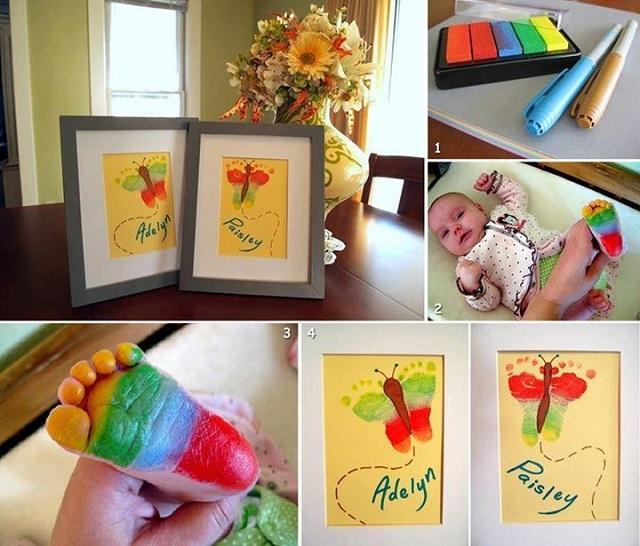 Rainbow Butterfly Footprint Artwork - DIY