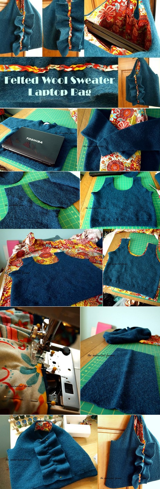 Turn an old Felted Wool Sweater into a Laptop Bag Case - DIY (2)