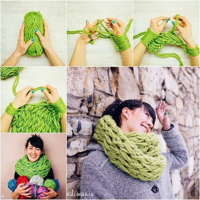 Crocheting With Your Hands : Arm Knitting 30 Minutes Infinity Scarf - DIY - AllDayChic