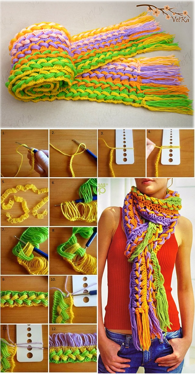 Incredible Hoock Knitted Scarf - DIY (2)
