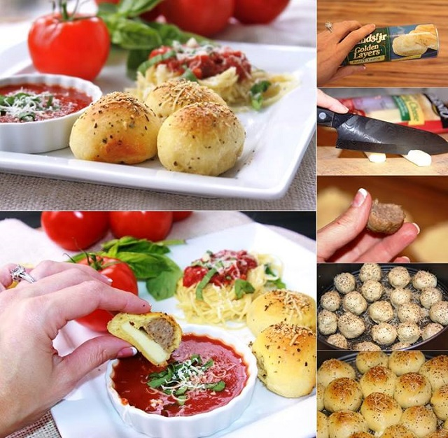 Meatball Stuffed Buns Recipe