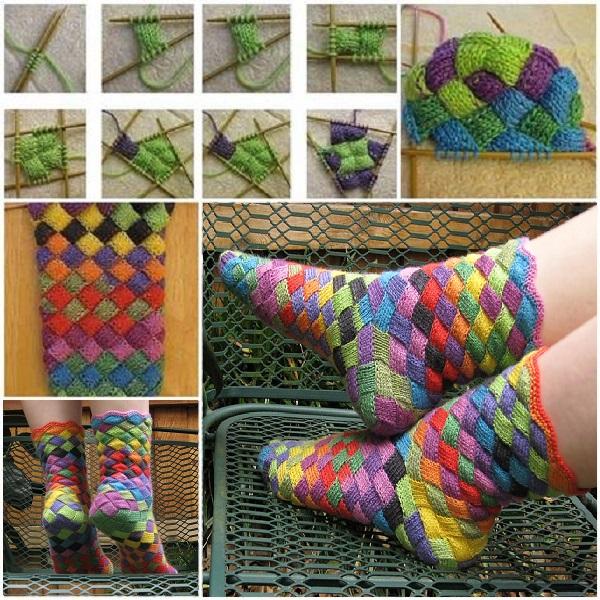 Rainbow Patch Knitted Socks Idea Diy Alldaychic