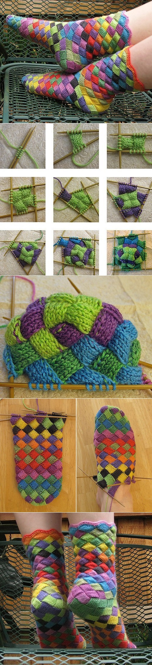 Rainbow Patch Knitted Socks Idea - DIY