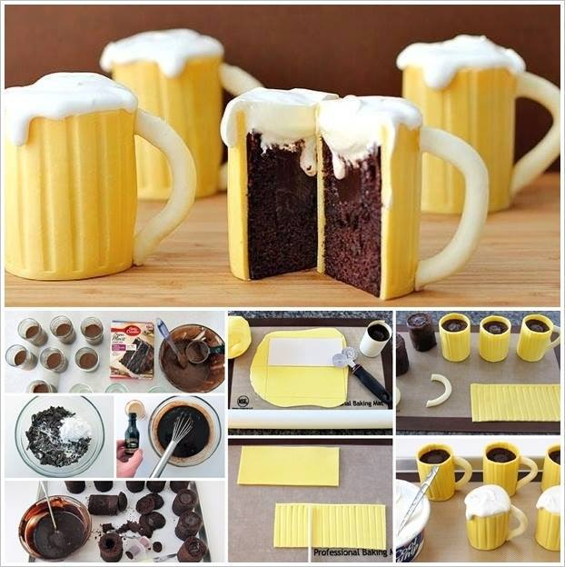 Beer Mug Cupcakes with Whiskey Cream Filling