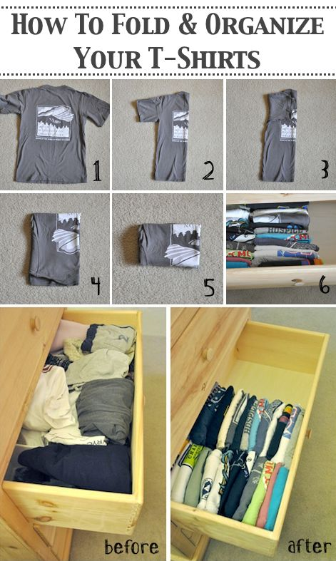 Save space in your drawers by folding your shirts in the right way
