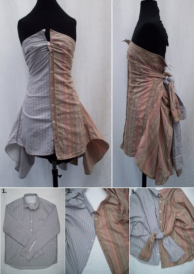 Creative Skirt and Dress Made from Shirts - DIY
