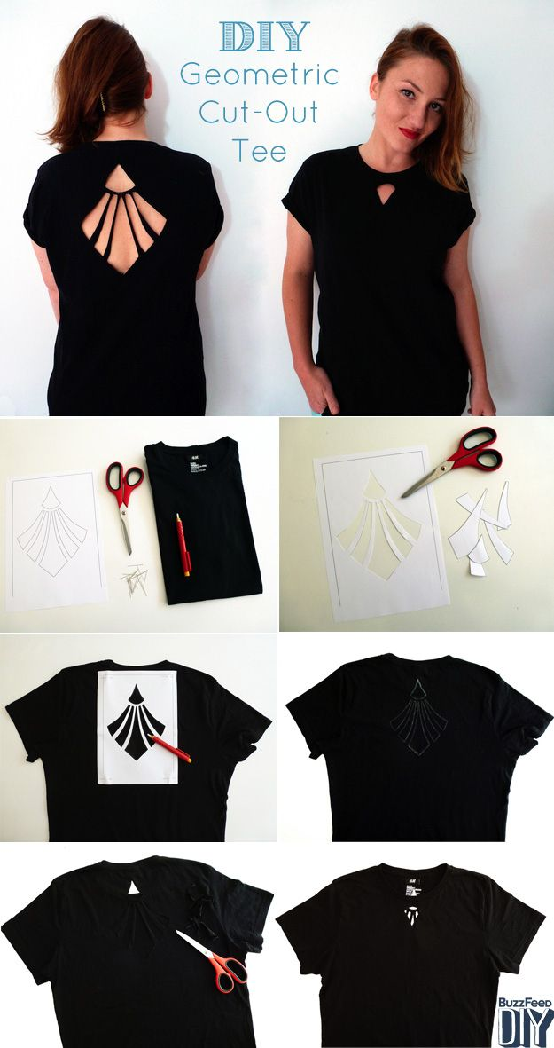 Geometric cut out tee diy alldaychic for Diy t shirt design