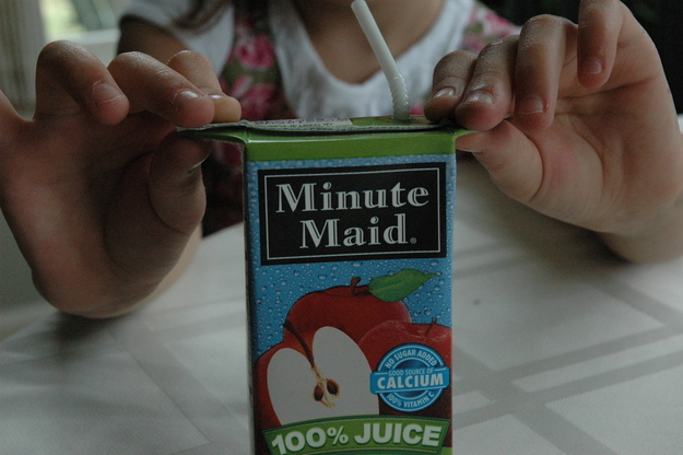 balance juice boxes or even milk cartons by folding out the sides from the top
