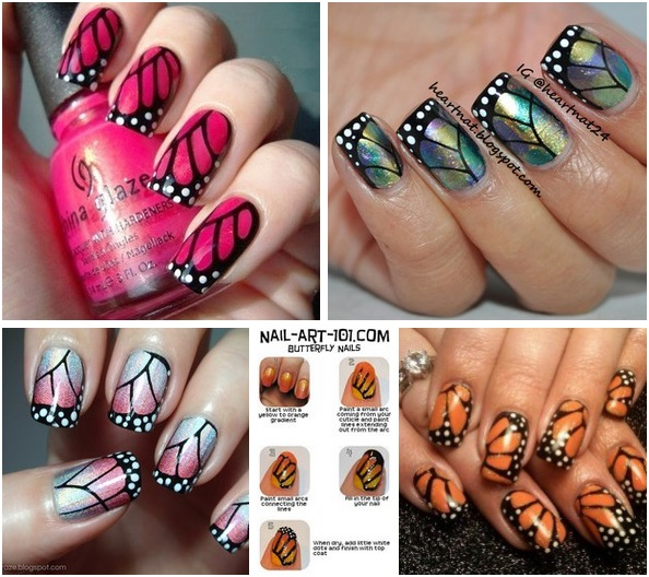 Butterfly Wings Nail Art Alldaychic