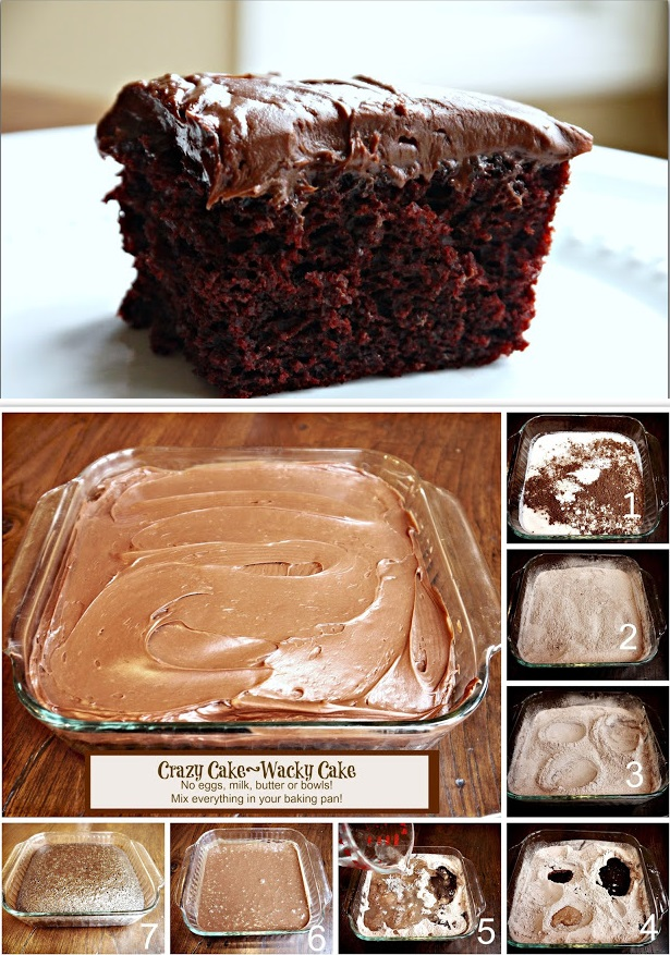 Crazy Cake Wacky Cake recipe no eggs chocolate cake 2