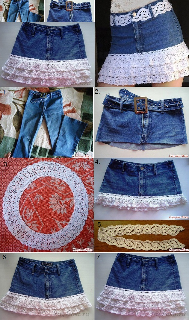 Denim Skirt with Crochet Details - DIY
