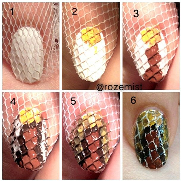 Creative nail art using a net alldaychic creative nail art using a net prinsesfo Choice Image