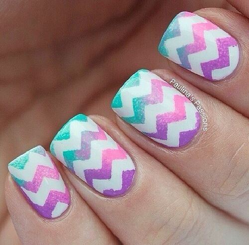 Easy way to make zigzag nail design alldaychic the procedure is very easy and you will need some adhesive tape nail polish and chevron scissors now see the image above to find how to make enjoy prinsesfo Choice Image