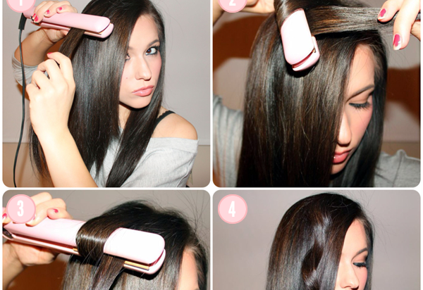 how to style hair with curling iron how to curl your hair with a hair straightener alldaychic 4398