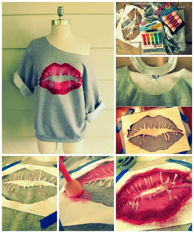 Kiss Me Lip Sweatshirt - DIY