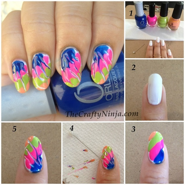 Special and Colorful Nail Art Using a Needle - DIY - AllDayChic