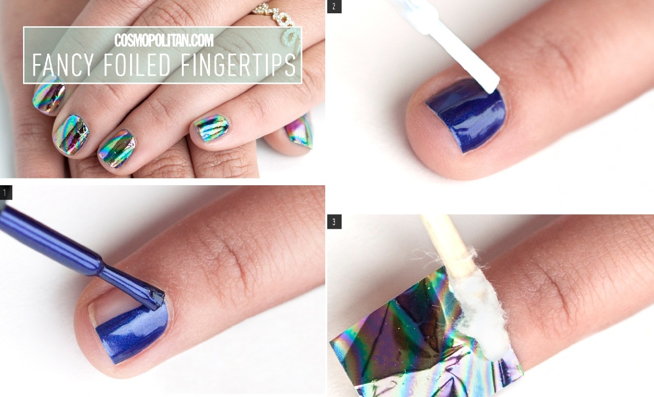 Interesting Nail Art Tutorial - Foiled Nails - AllDayChic
