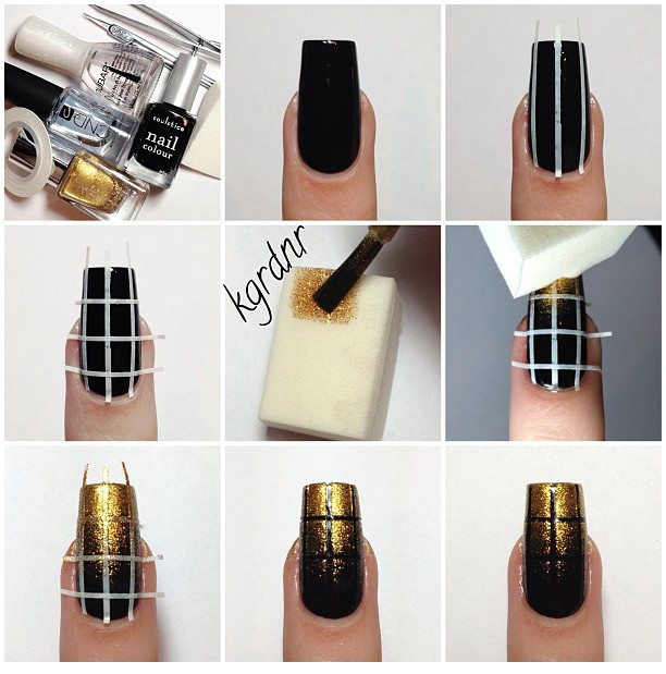 Elegant Nail Art: Black and Gold Nails - DIY - AllDayChic