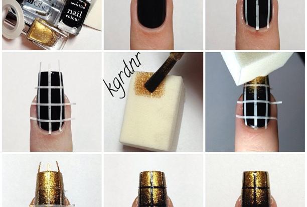 Elegant Nail Art Black And Gold Nails