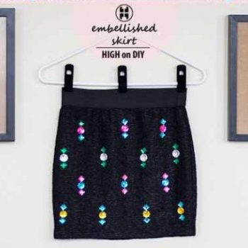 Refashion Old Black Skirt with Gems – DIY