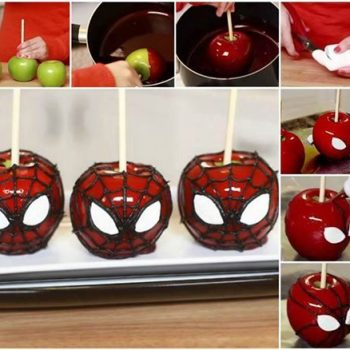 DIY Spiderman Candy Apples