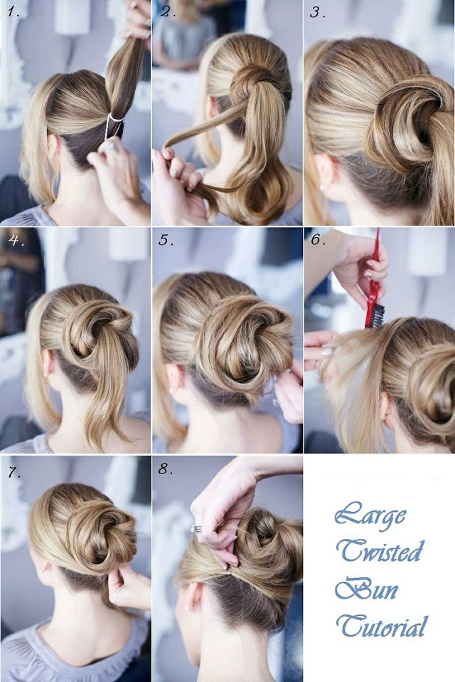 Outstanding Large Twisted Bun Hairstyle Tutorial Alldaychic Hairstyle Inspiration Daily Dogsangcom