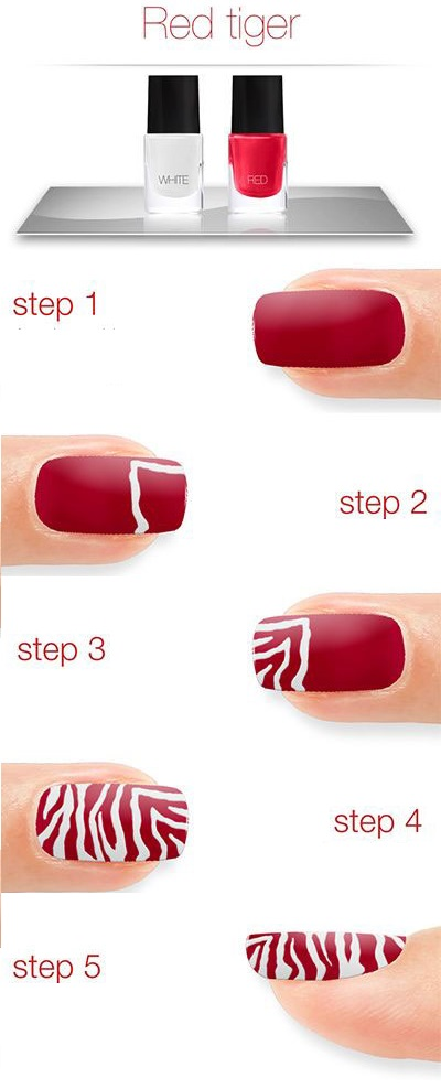 Red Tiger Nails - Tutorial