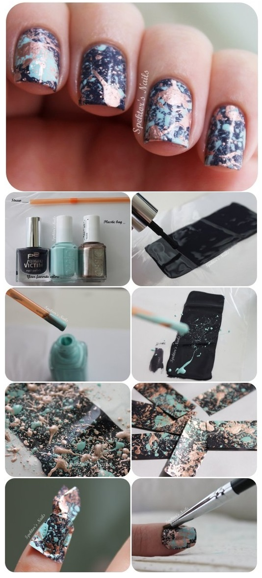 Galaxy Splatter Nails - DIY Tutorial - AllDayChic