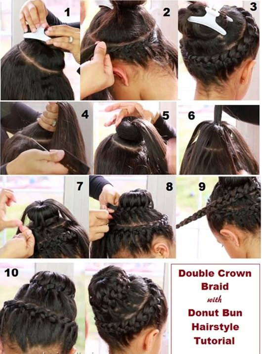 Sensational Double Crown Braid With Doughnut Bun Hairstyle Tutorial Alldaychic Hairstyle Inspiration Daily Dogsangcom