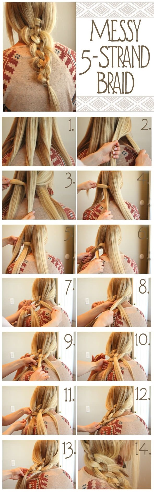 How To Make a 5 Strand Messy Braid