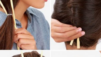 Make a French Twist Hairstyle Using Chopsticks (2)