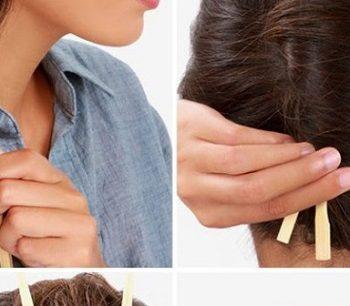 Make a French Twist Hairstyle Using Chopsticks (2)