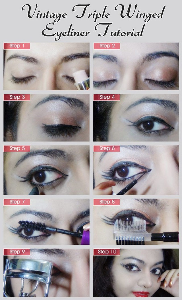 Vintage Style Triple Winged Eyeliner Tutorial