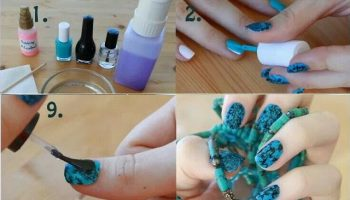 Black And Turquoise Creative Nail Art (3)