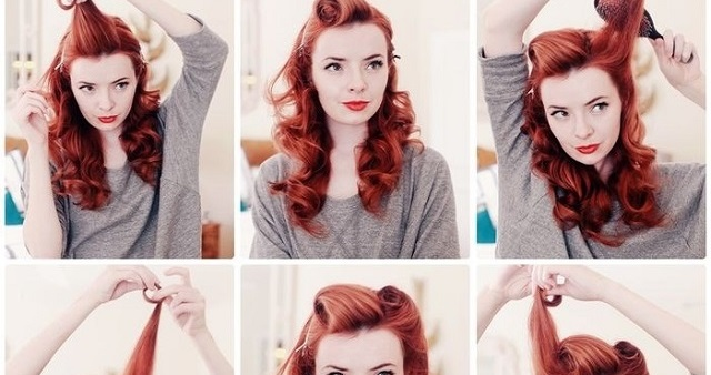 vintage hairstyle tutorial alldaychic. Black Bedroom Furniture Sets. Home Design Ideas
