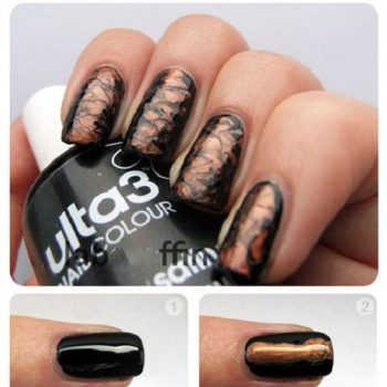 Black And Bronze Nail Art