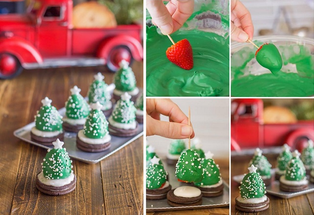 chocolate covered strawberry christmas trees diy recipe alldaychic - Christmas Chocolate Covered Strawberries