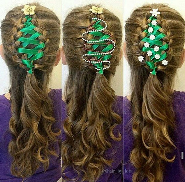 Corset Ribbon Braided Christmas Tree Hairstyle Tutorial