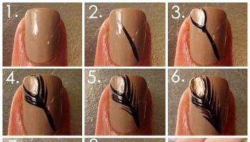 Feather On Nails Manicure – DIY