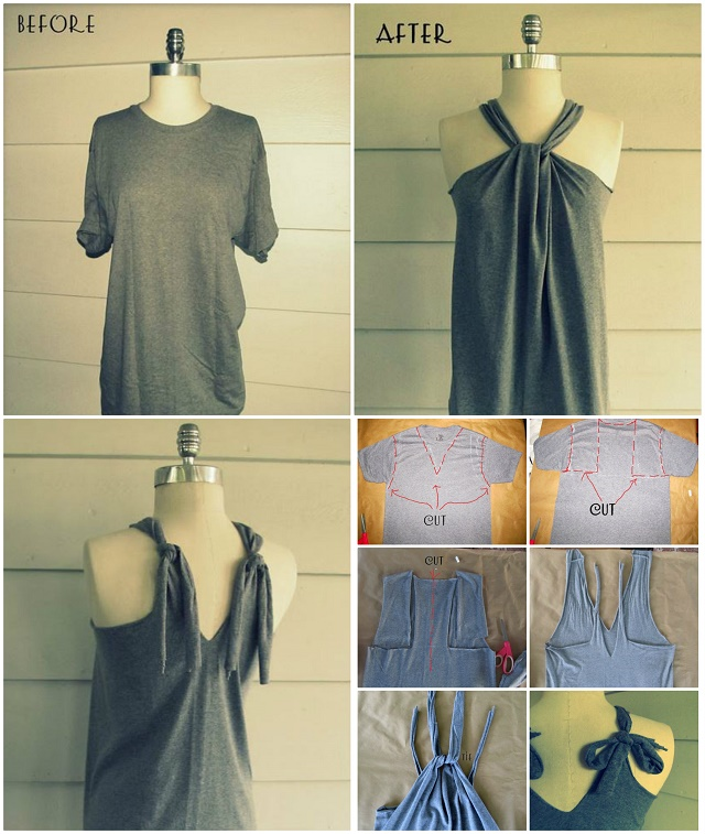 No sew t shirt halter diy alldaychic - Diy ideas repurposing old clothing ...