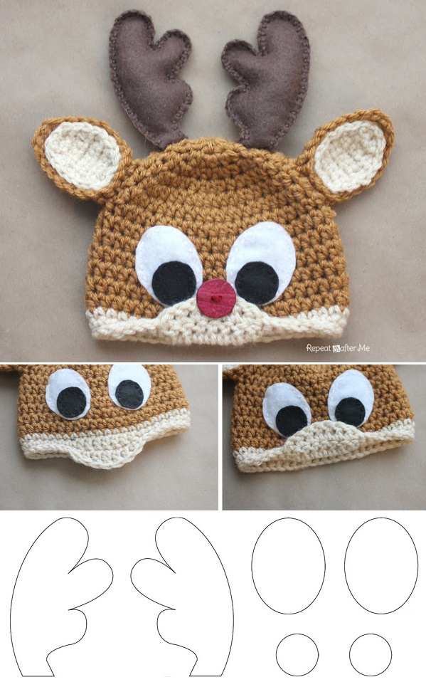 Rudolph The Reindeer Free Crochet Hat Pattern - DIY ...