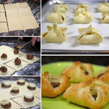 Nutella and Banana Pastry Purses
