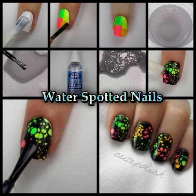 water spotted neon nails diy manicure alldaychic. Black Bedroom Furniture Sets. Home Design Ideas