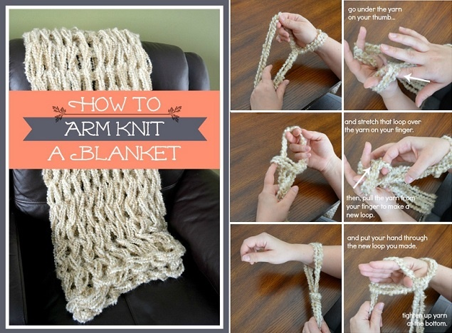 how to arm knit a blanket in less than an hour diy tutorial alldaychic. Black Bedroom Furniture Sets. Home Design Ideas