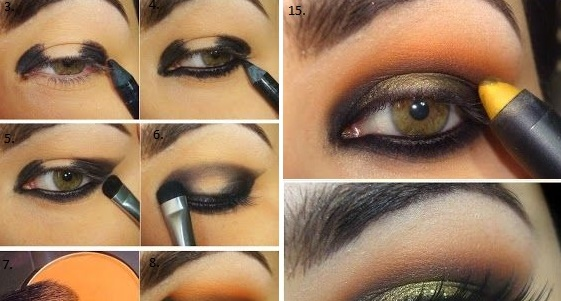 Black And Orange Dazzling Makeup Tutorial Alldaychic