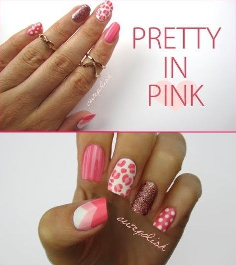 Pretty Pink Mix And Match Nail Design Alldaychic