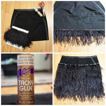 DIY Feather Trimmed Skirt