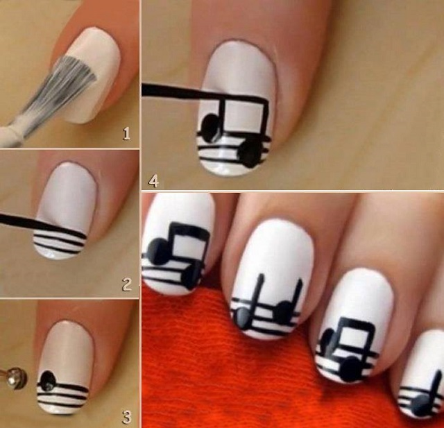 Creative nail art the musical notes alldaychic creative nail art the musical notes prinsesfo Image collections