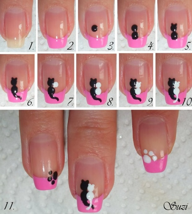 Cute Cats in Love - DIY Nail Design
